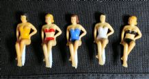 5 Vintage 1950's/60's Bathing Beauties Glass Markers